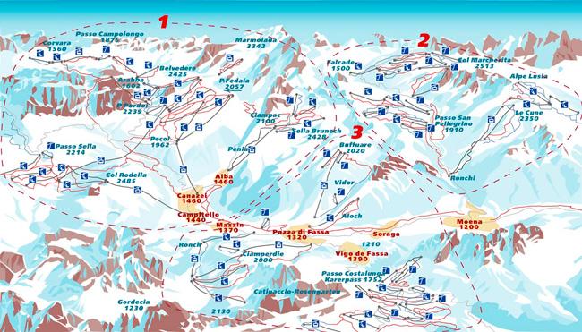 Схема трасс Валь-ди-Фасса