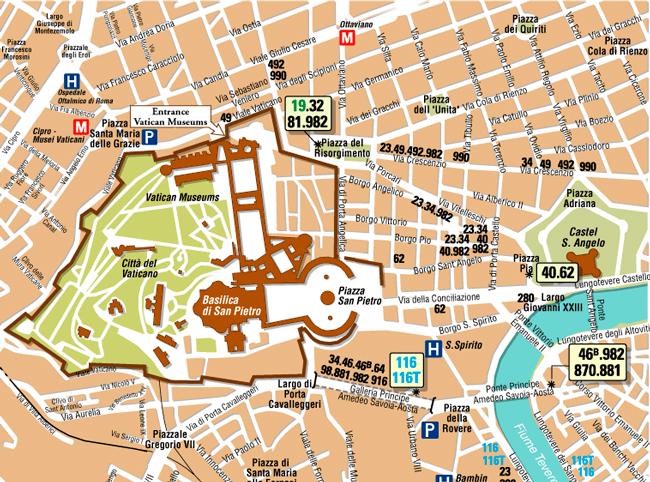 Карта с номерами автобусов, идущих до Ватикана