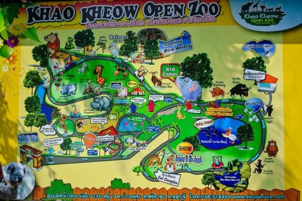 Карта зоопарка Кхао Кхе